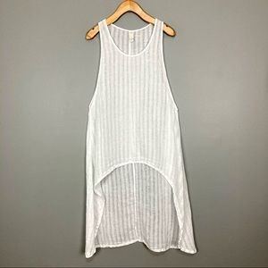Chalet Linen Tunic Tank Top High Low Swim Coverup